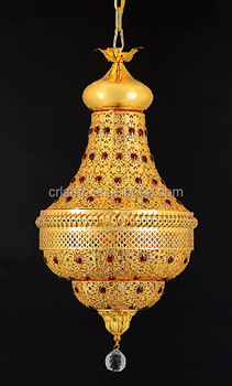2015 Saudi Arabia golden crystal pendant lamp with crystal ball & English golden color pendant lighting CR5201-5P
