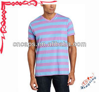 Loose v neck half sleeve men's striped t shirt