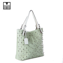 2018 latest design silvery diamond rivet PU leather handbag best handmade woman handbag