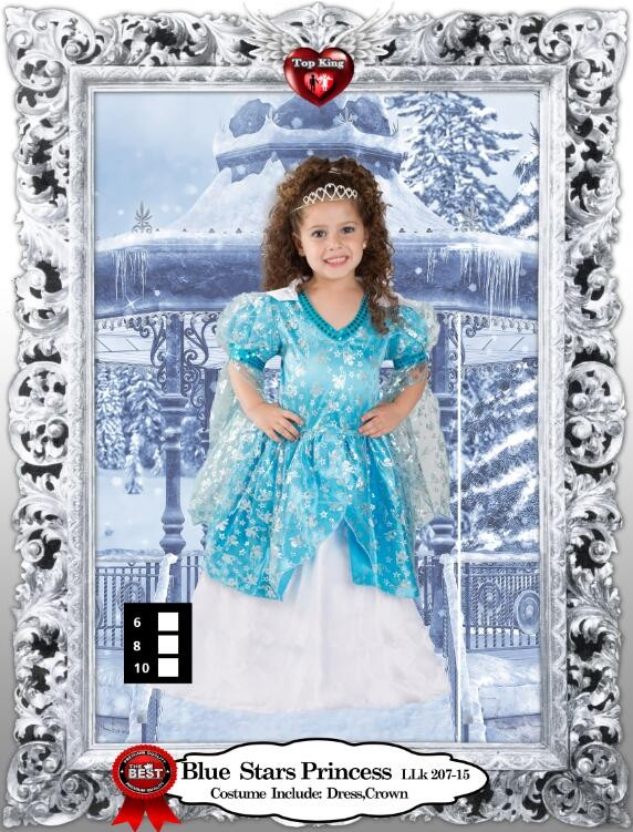Factory Selling Children Age Group and Girls Gender Birthday Party Blue Stars Costumes LLK207-15