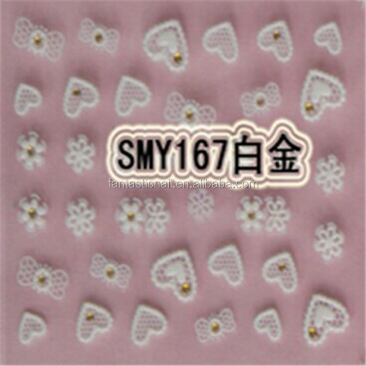 Decorated with Silver Crystal Heart and Bow Design Nail Art 3D Nail stickers