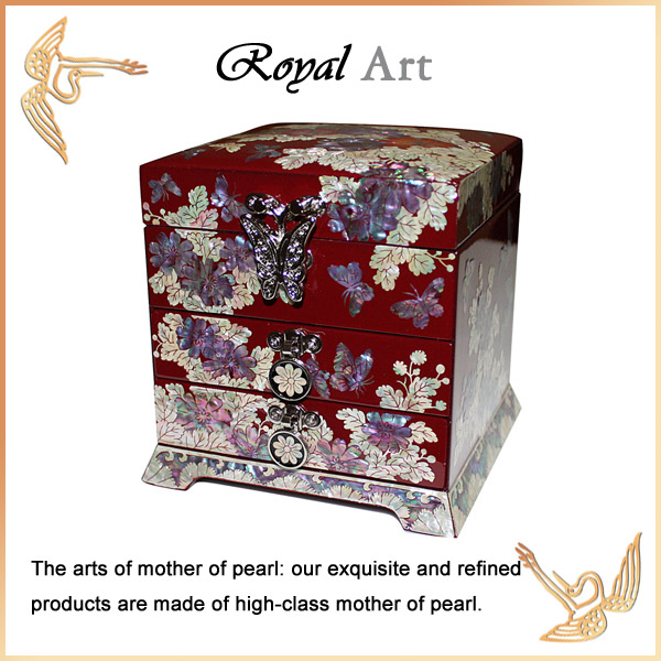 Luxury Jewelry Box with Mother of pearl inlaid; DR-501