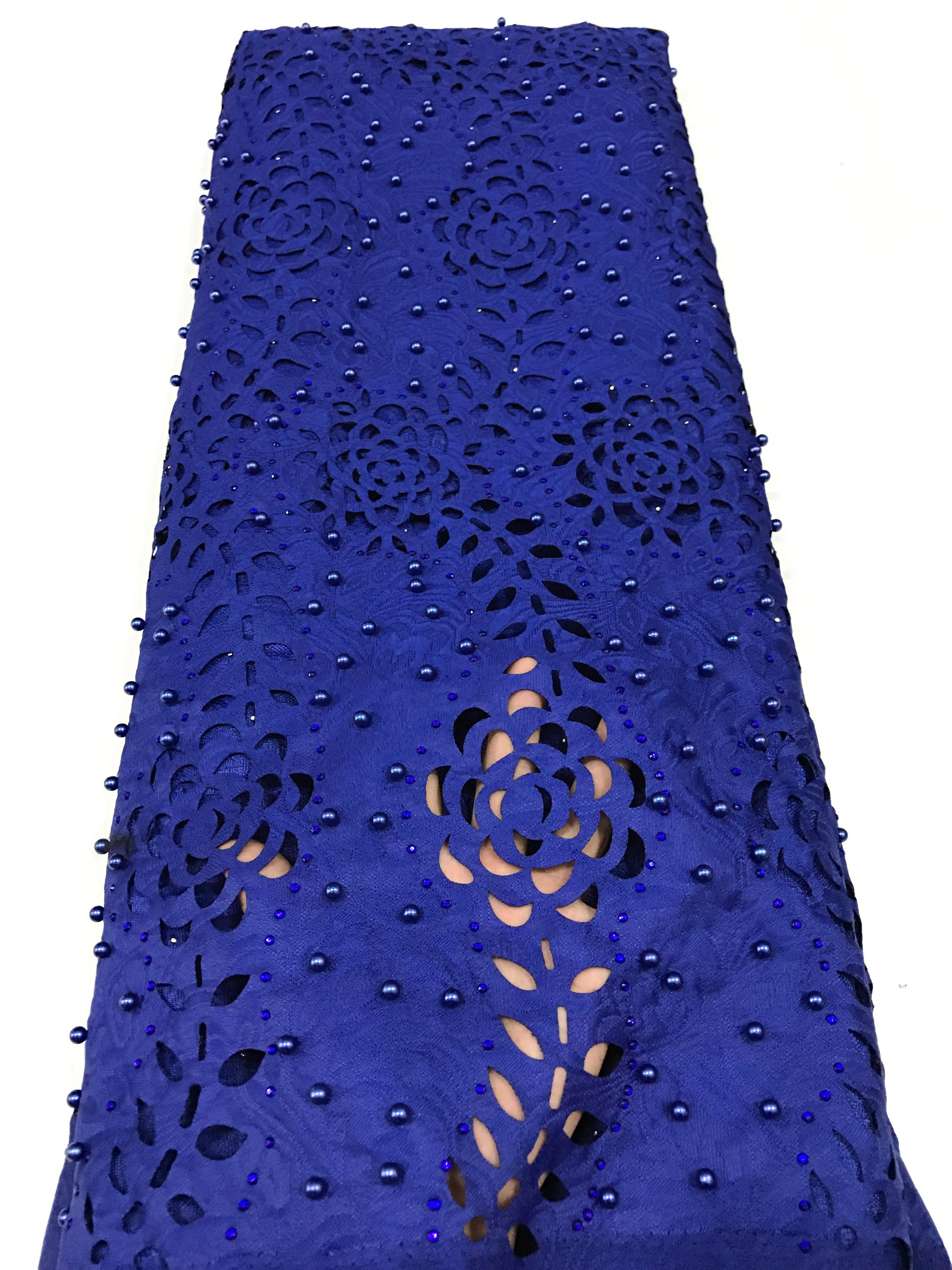 2017 African laser cut embroidery lace fabric for ladies party /wedding