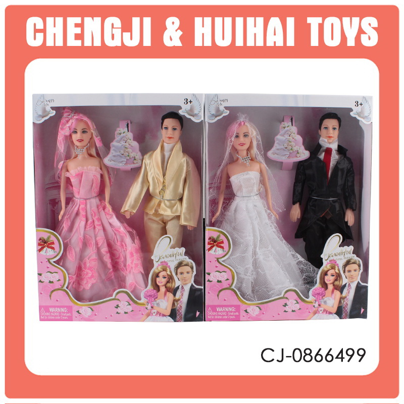 11 inch fashionable wedding doll bride and groom dolls