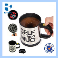 stainless steel self stirring coffee mug with handle