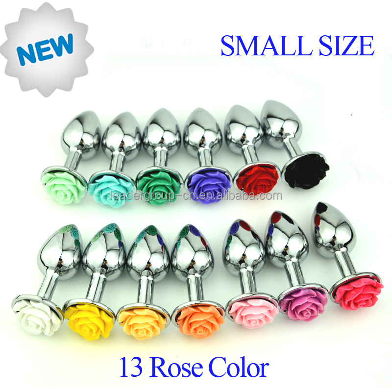 <strong>Mini</strong> Size 70x27mm Stainless Steel Rose Anal Plug Sex Toys Sexy Flower Butt Plug Sex Game Toys
