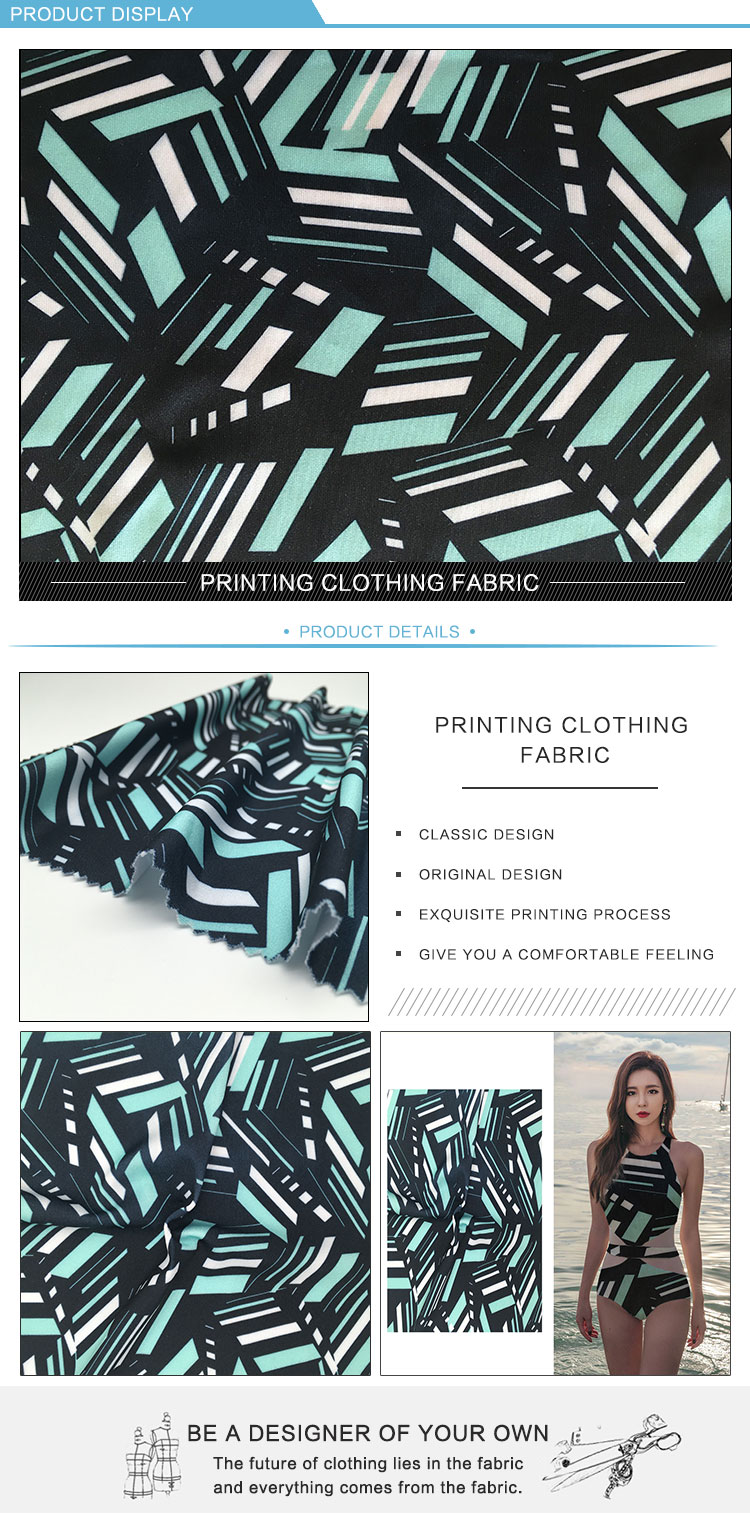 Digital printed jersey polyester nylon blend fabric Microfiber 80% polyester 20% nylon fabric For Making Swimwear