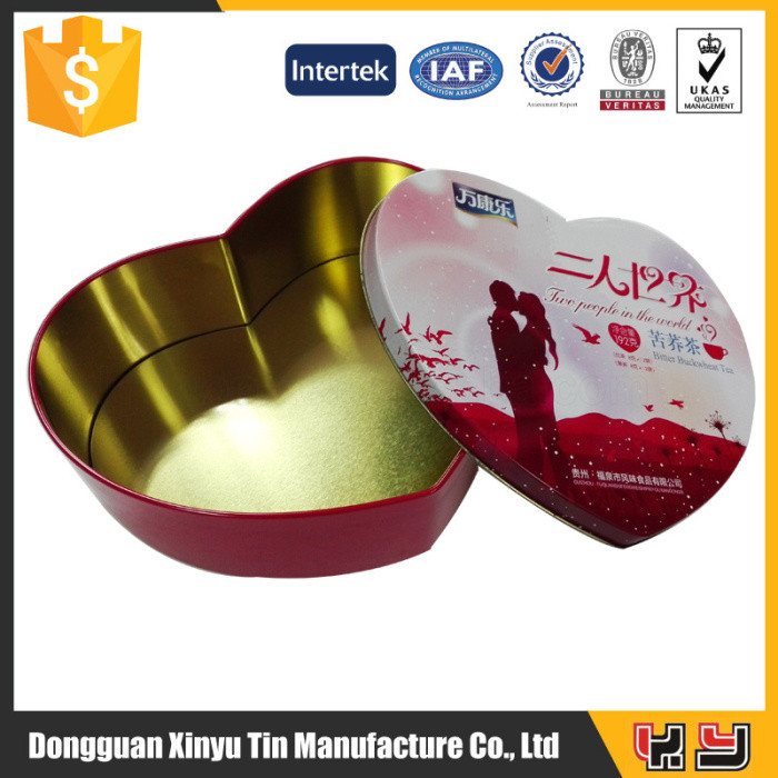 heart shaped tin box for chocolate candy for gift