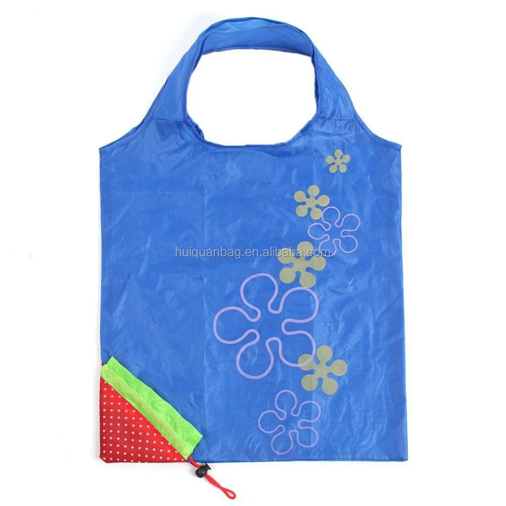 Strawberry Unique reusable shopping bags pocket foldable tote polyester bags
