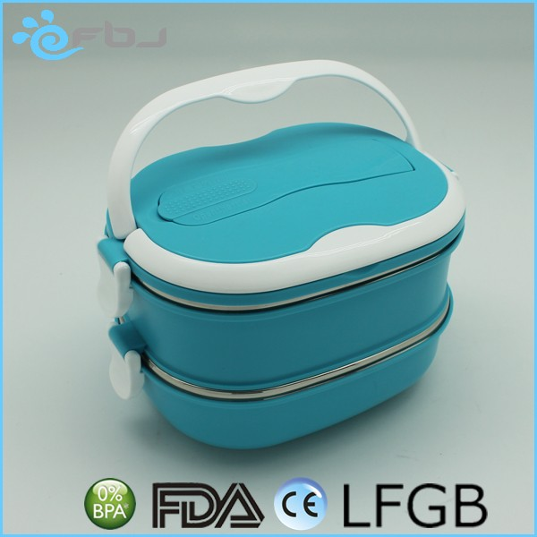 ~~Eco Friendly Clear Large School Lunch Box Wholesale two tiers plastic lunch box