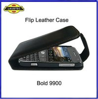 With Brown Stitch Leather Flip Pouch Cover Case For Blackberry Curve 9900