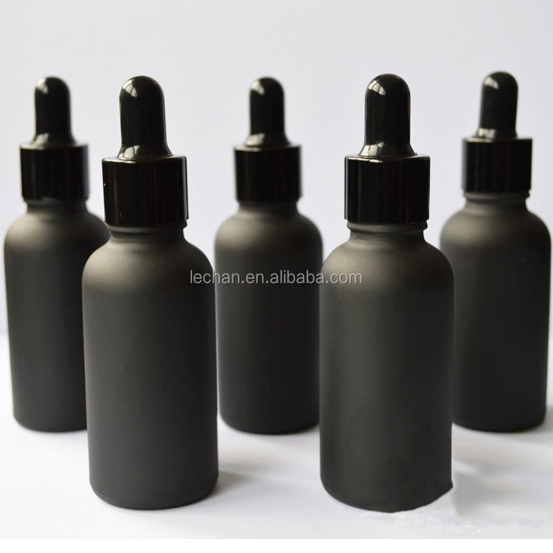 Black green amber green clear frosted glass bottle pipette/ 1 oz matte glass bottle for e liquid/essential oil glass vial