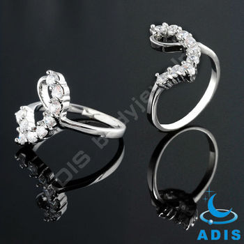 Elegant custom wholesale fashion AAA zircon mens brass ring