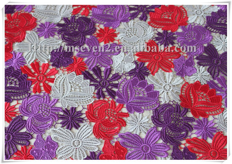 Latest embroidery austrian embroidery designs flower lace fabric for dress