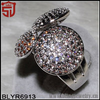 Pink and Purple Zircon Silver Over Copper Halo Ring Shangjie Jewelry