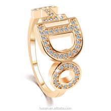 Take the ring zircon crystal tide gold plating fashion style alphabet flash diamond ring DO