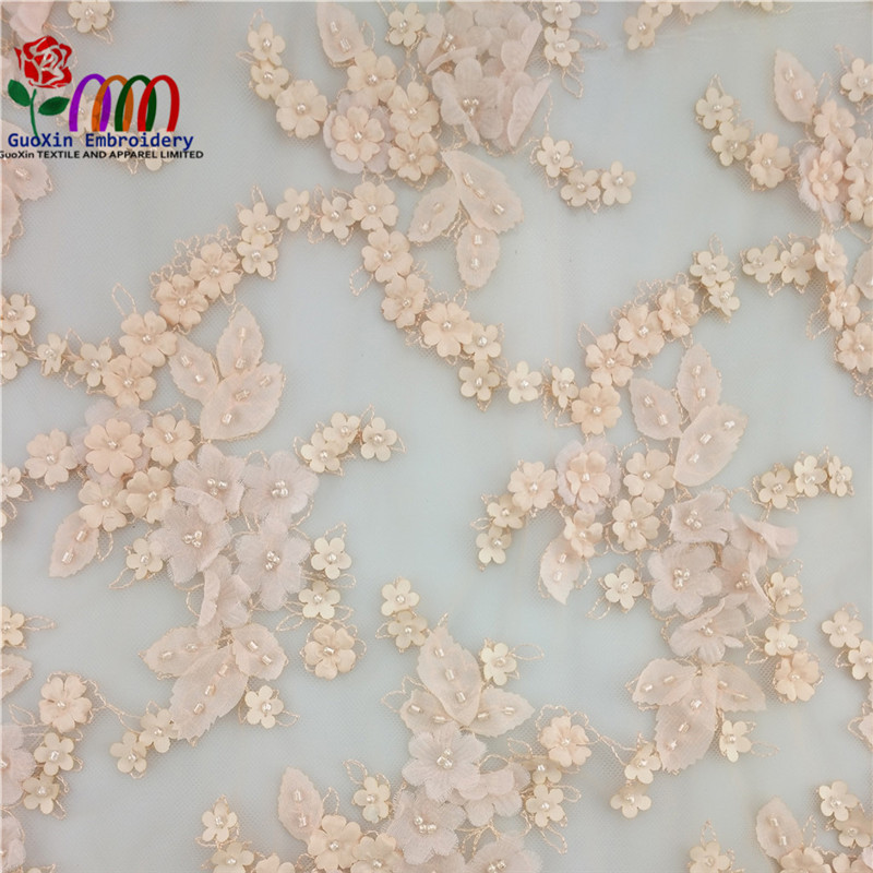 New arrival Italian nylon cotton embroidery 3d lace fabric beads bridal