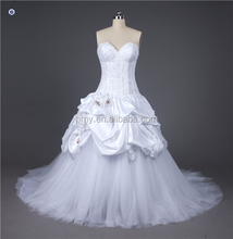 Pictures of Latest Gown Design SHMY-W287 Sweetheart Neckline Lace Appliqued Satin Ruffled Wedding Gown