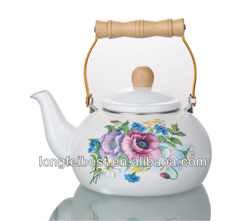 1.8L Drum shaped enamel kettle,teapot with wood handle
