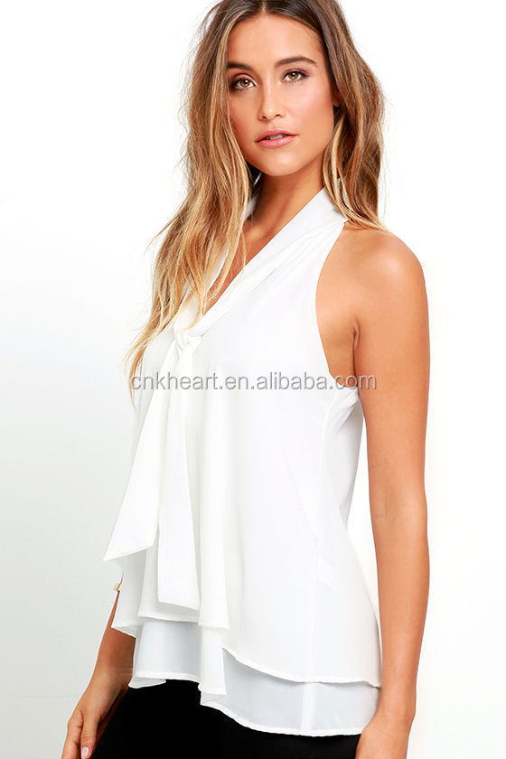 2016 latest design sexy sleeveless custom wholesale patch work in blouse neck design women