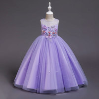 New Trend Little Girl Wholesale Stock Breathable Satin Tulle Popular Purple Sleeves Princess Dress