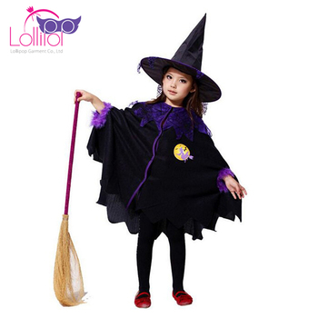 High quality witch fancy dress for halloween party, halloween girl kid costumes