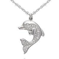 SJAN01782 SJ Vogue Animal Necklace Silver Little Dolphin Micro Pave CZ 925 Sterling Silver Floating Lovely Dolphin Necklace