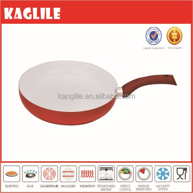 High quality Aluminum red Ceramic Frying Pan with customized handle and induction KLL-AP10CRD