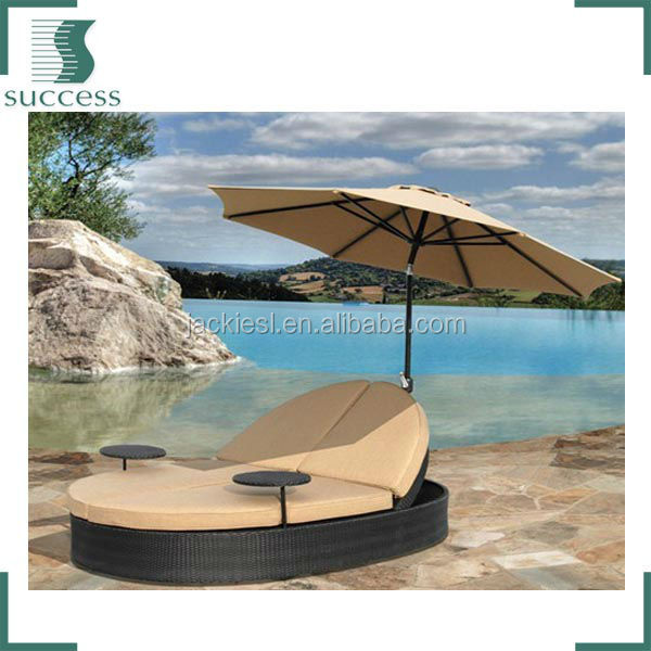 L111 fabric double rattan sun lounger with canopy