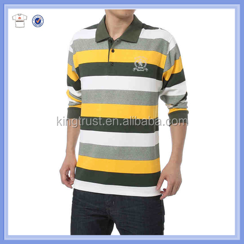 Fancy striped autumn men long sleeve polo t shirt