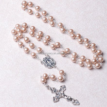 8mm glass Pearl Catholic Rosary Necklace