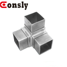 Staircase / balcony railing system balustrade fittings 3 way square tube connector for steel handrail joiner
