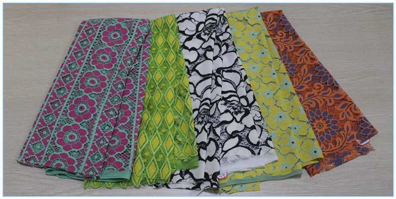 2016 Wholesale latest guipure african lace fabrics cotton lace trim for dresses