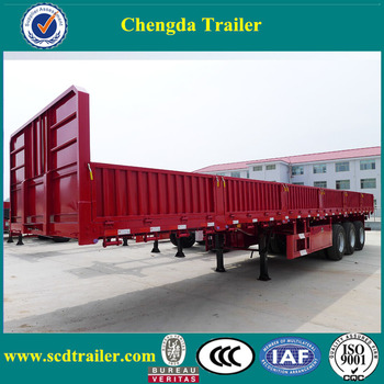China tri axle 60 ton cargo trailer with 600mm side wall