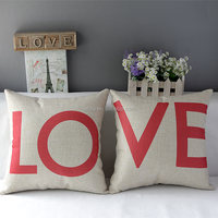 L-Series flower logo and love logo cotton bolster cushion