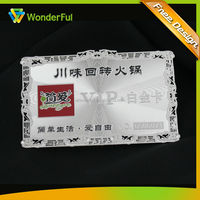 OEM Metal Crafts Custom Made Cheap Etched & Embossed Logo High End Frosted Sliver VIP Discount Card