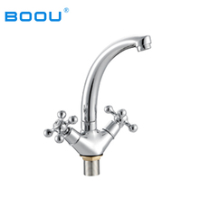 Long Neck Double Handles Brass Thermostatic Wash Basin Mixer Faucet