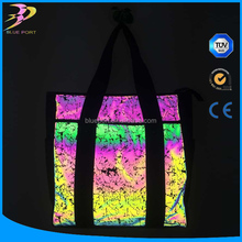 China high quality color visible retro Rainbow aurora reflective printed fabric for bag