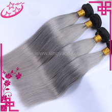 Wholesale Brazilian 1B /Grey Straight Hair weaving 100% Virgin Human Hair Extension