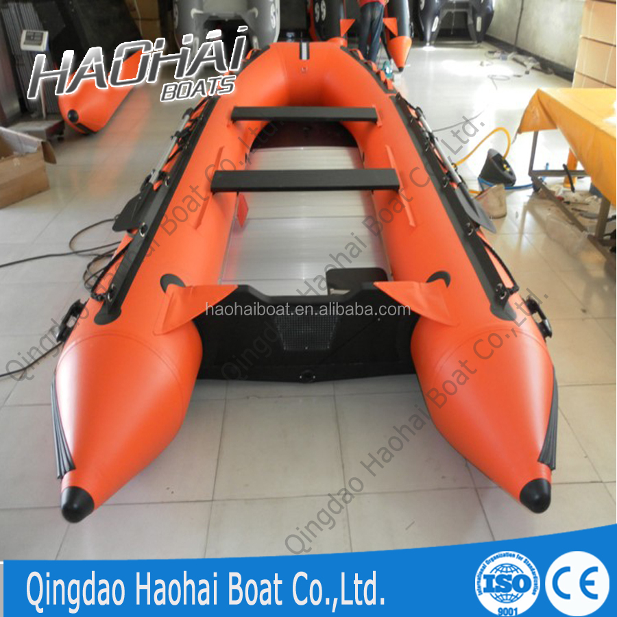 Aluminum floor inflatable fishing boat for sale 4.3m