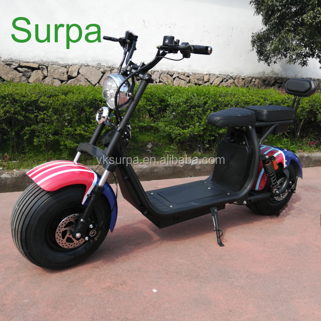 electric scooter with eec homologation 1000w 1500w/double fork suspension two battery 60v 12ah 20ah citycoco fat tire e scooter