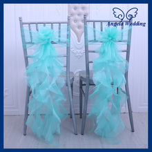 CH098T fancy organza ruffled curly willow wedding green chair sash