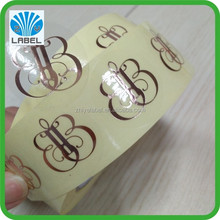 High Quality Custom Adhesive Rose Gold Foil Stamping Labels,Custom Ttransparent Waterproof Roll Logo Stickers