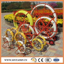 Fish Tape Fiberglass 6MM 425FT Duct Rodder Fish Tape Continuous Fiberglass Wire Cable Running with Cage and Wheel Stand