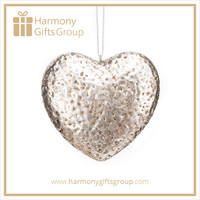 Gold & Silver Heart Personalized Blank Christmas Ornaments