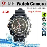 Hot selling IR night vision black wrist SUN waterproof full HD 1920*1080 built-in 4GB hidden camera watch