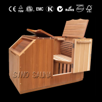 Wooden half body sauna bag with far infrared carbon heater panel
