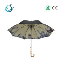 High quality UV black coated straigh golf hotel umbrella with bamboo handle