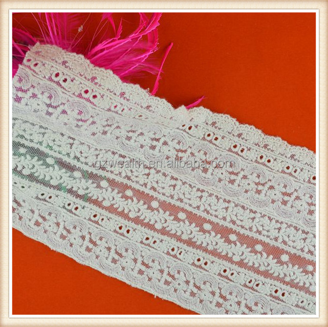 Wholesale white embroidery cotton lace in switzerland for dress/decoration/bra