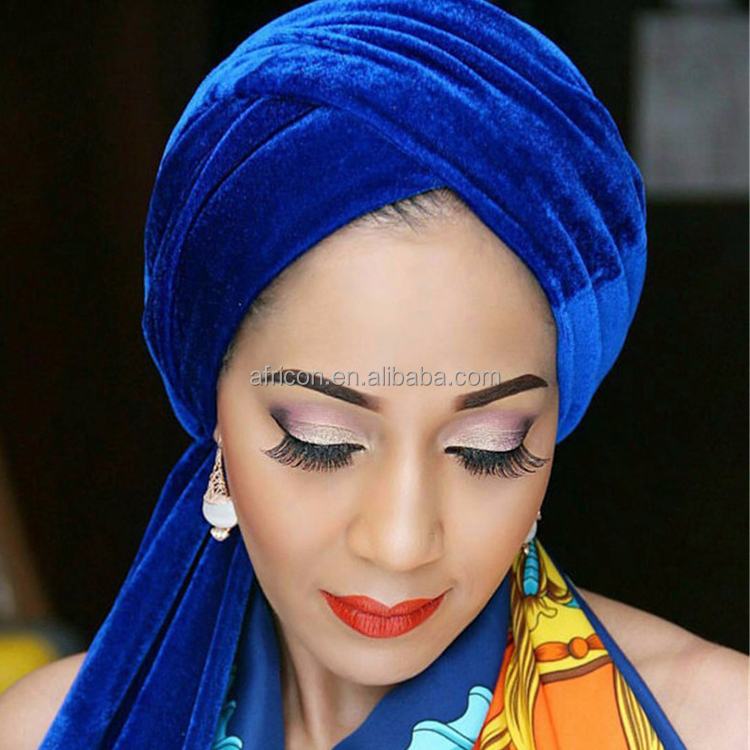 HQT02 Queency 2017 African Fashion Gele Tube Turban Velvet Head Tie Head Scarf in Multi Colors High Quality
